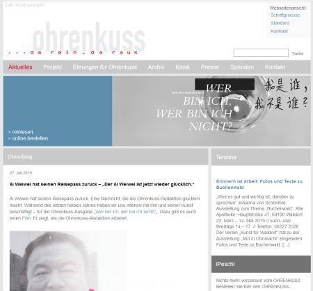 Screenshot http://ohrenkuss.de/