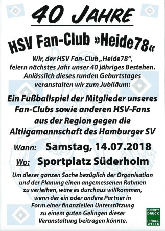 40 Jahr HSV Fan Club, Flyer Jubiläumsspiel, Quelle: privat