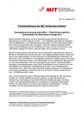 PM Zwangsbevormundung abschaffen, pressemitteilung der MIT-SH vom 24.08.2018