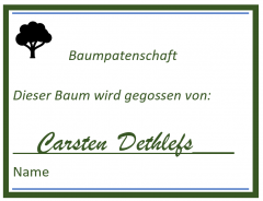 Zertfikat Baumpatenschaft. Grafik: Susanne Junge