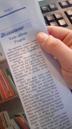 Leserbrief in der Dithmarscher Landeszeitung vom 26.09.19